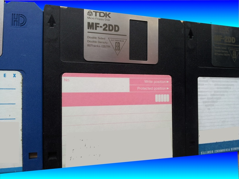 Floppy disks ready for transfer to CD.