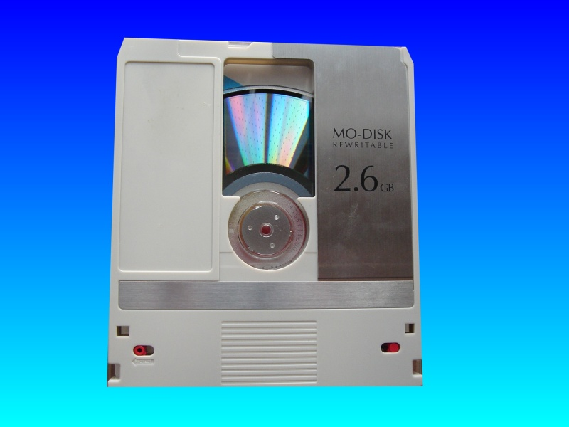 Magneto Optical disk up to 9.1gb capacity being prepared for transfer of data.