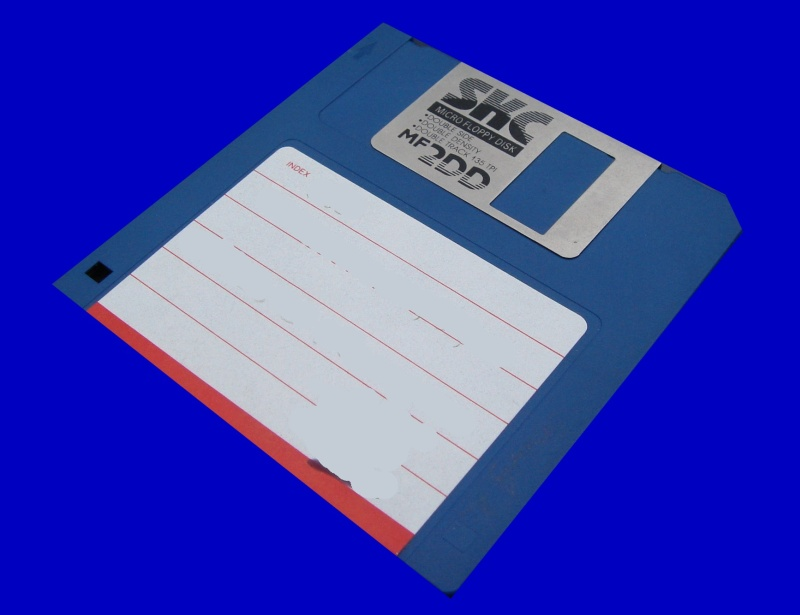A Floppy disk from an old Macintosh.
