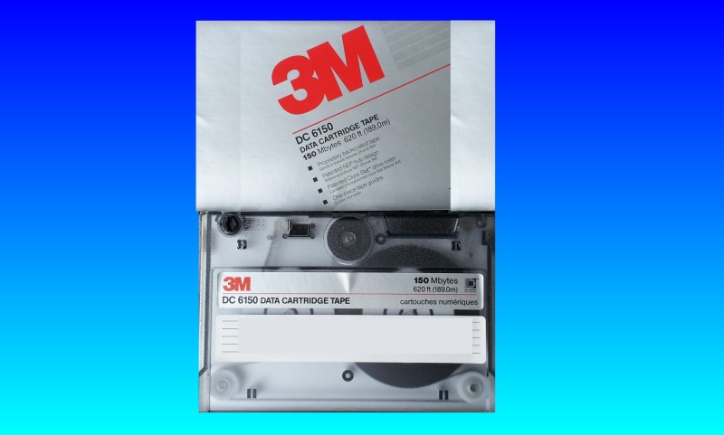 A DC6150 Tape by 3M shown with it's cassette cartridge cover. This tape was used in a Unix/Linux computer system to back files up but the client no longer had the reader to extract the data, but needed it saving to a Windows PC USB.