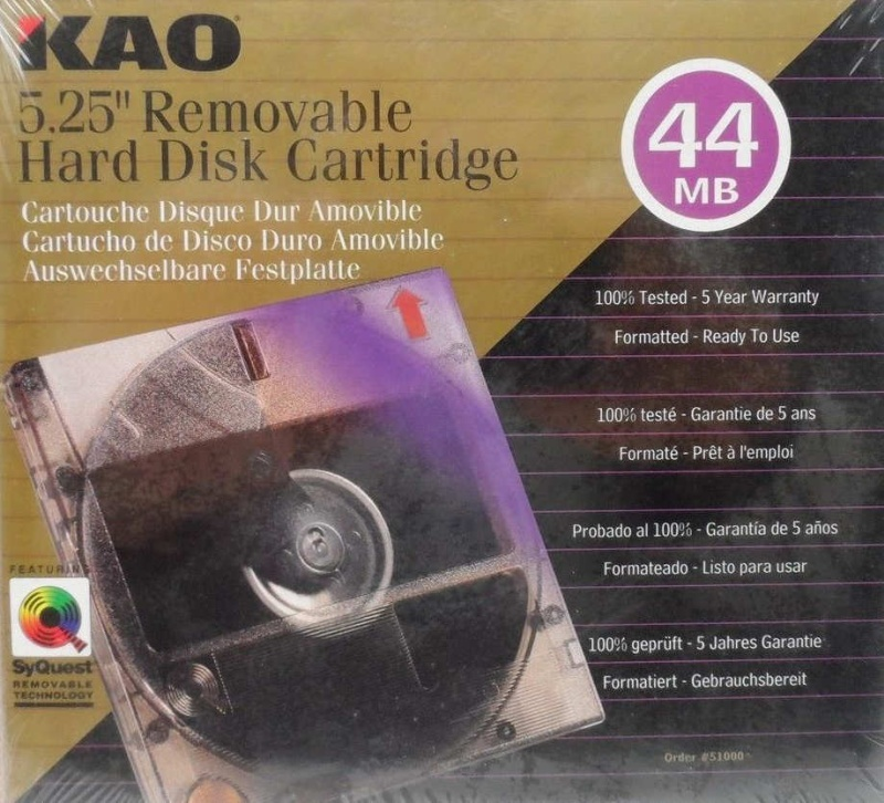 KAO 44MB 5.25 Syquest Removable Hard Disk Cartridge.