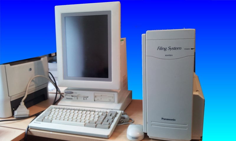 KV-F510 with a KV-F511 printer-scanner unit attached and 3.5 inch optical drive