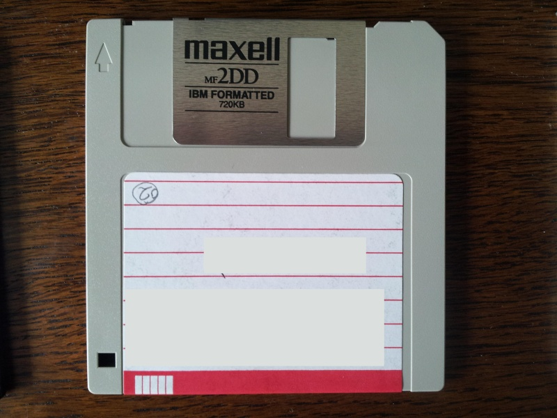 A 3.5 inch floppy disk taken from an old Panasonic Word Processor. The disk was a 720kb low / double density which was formatted as a single sided 360kb disk in the Panasonic typewriter.
