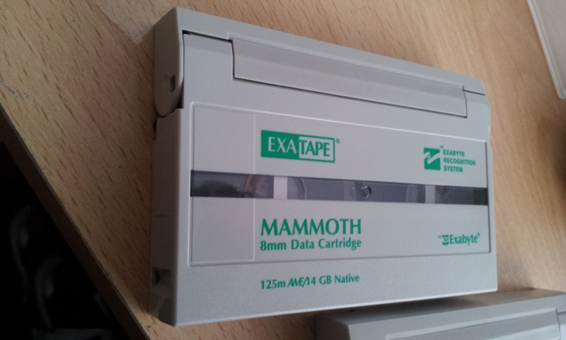 An Exabyte Mammoth tape used on Solaris system with backup files that needed to be written to hard disk drive.