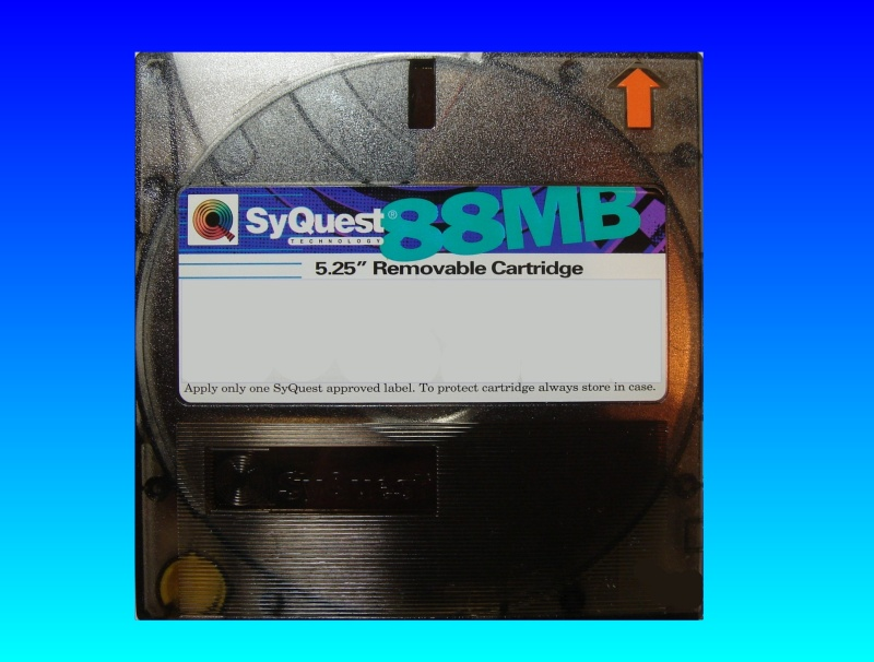 A 88mb syquest disk awaiting file transfer.