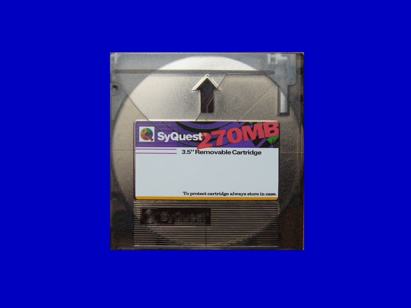 A 270MB Syquest disk awaiting transfer of files to CD.