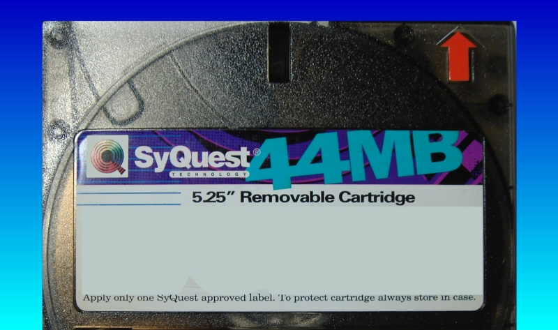 A Syquest 44mb data cartridge. The disk is 5.25 inches square.