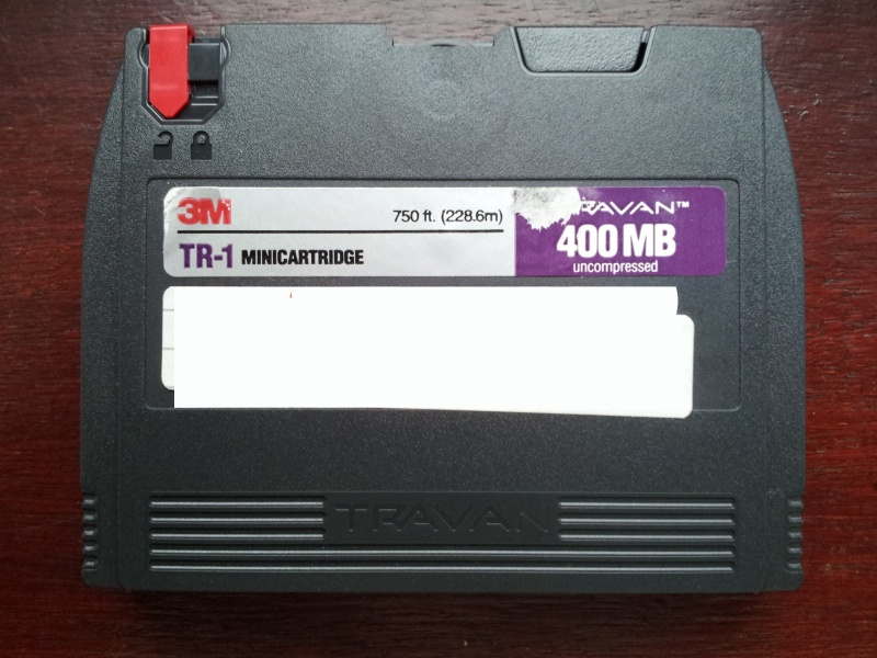 A Travan TR1 tape by 3M that was used on a Windows 95 computer and needed files transferring to CD. These days most customers want them transferring to a USB drive instead.