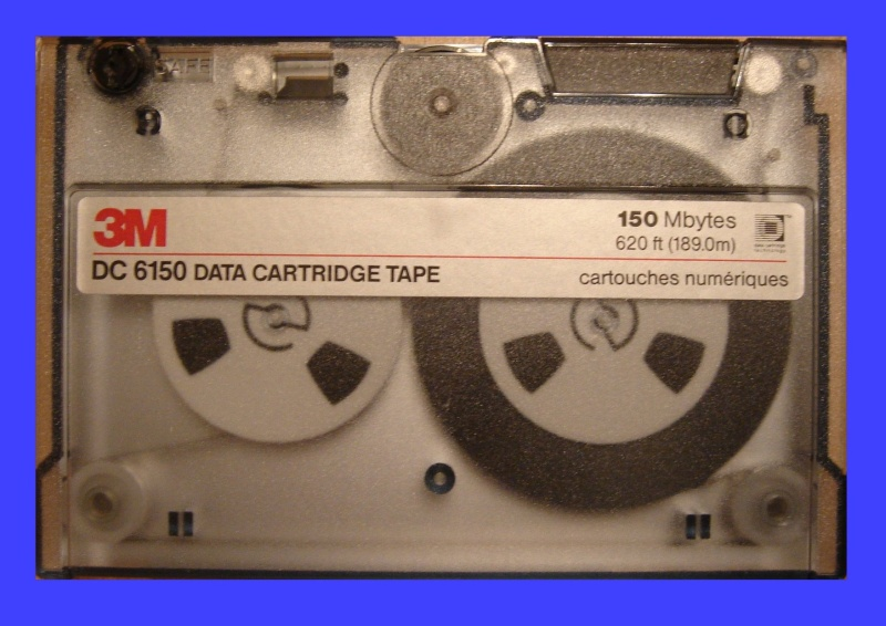 A Unix tape that was made by 3M, model DC6150. This QIC-150 cartridge held CAD drawings that needed to be extracted and saved to a CD.