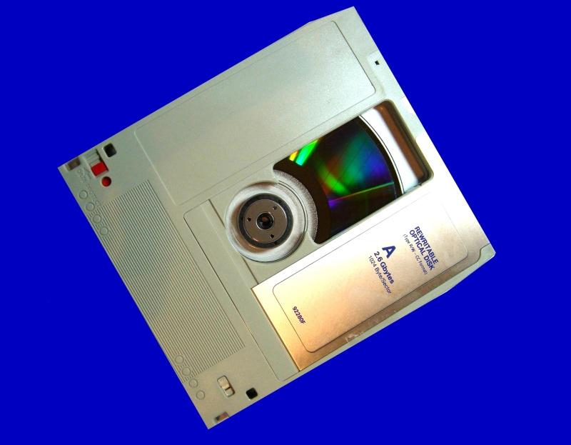 A Verbatim MO disk awaiting transfer to CD.