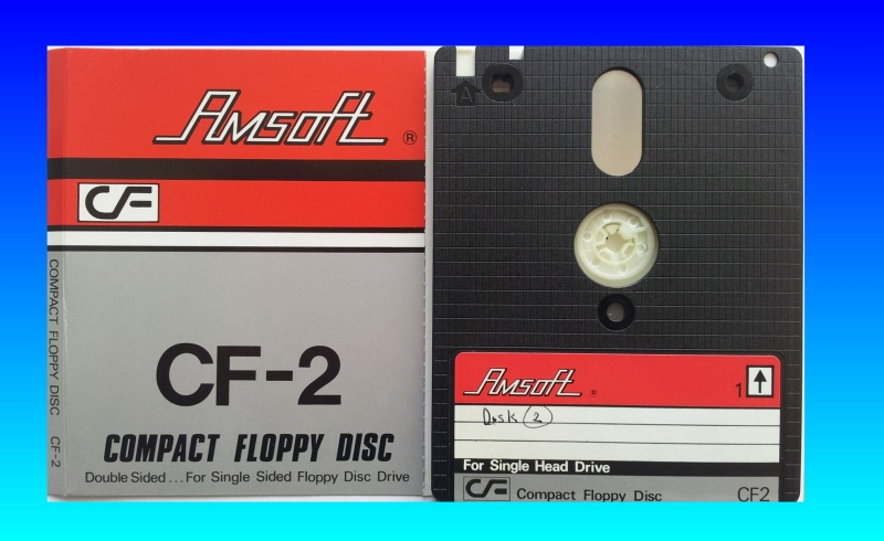 Amsoft CF2 floppy disks for file transfer.