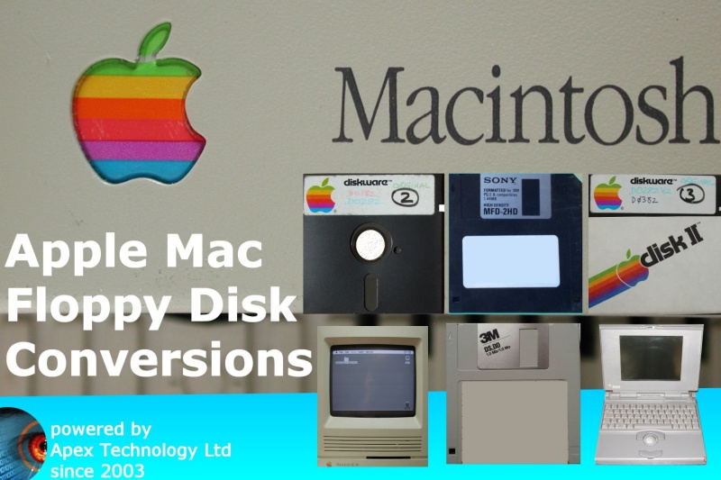 Mac Floppy Disks for Apple Macintosh 3.5 5.25 inch Discs Convert Transfer Extract Copy Read Files MacDraw ClarisWorks MacWrite, Windows PC,OSX Apple 2 2e ][ II