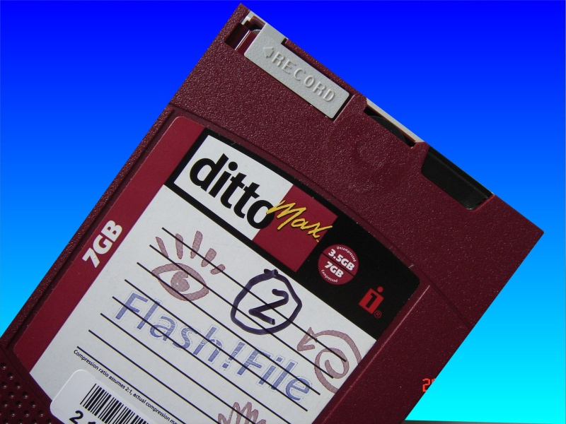 An example Ditto Max tape including Flash-File. These are made by Tecmar and Iomega and need to be read or transferred to modern media as the tape drives and software is no longer made.