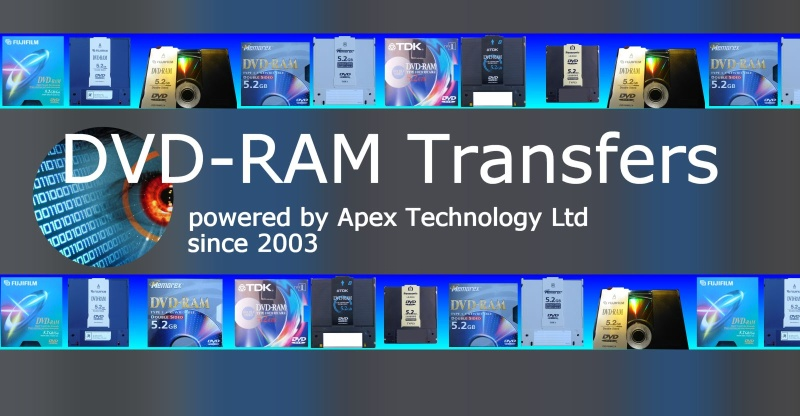 DVD-RAM disks of all types mini DVD-RAM, Cartridge Caddy disks for conversion to normal DVD or having their data files transferred to hard disk drive.