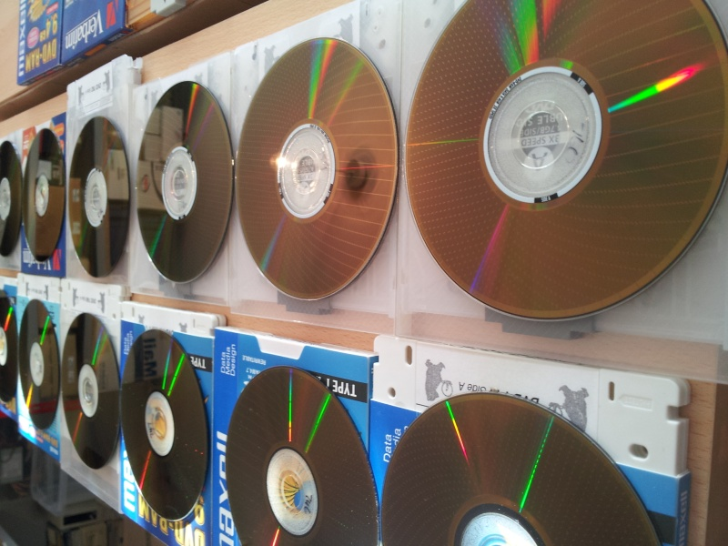 A series of DVD-RAM discs ready for conversion in our laboratory. The hard sectoring rectangles on the disk surface can be seen.
