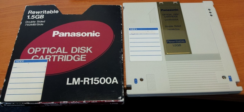 Panasonic LM-R1500A Disk used in the Panasonic Filing System awaiting conversion to DVD