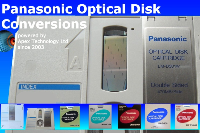 Panasonic Optical Disks Convert Transfer Files Data Recovery WORM,LM-D500,LM-D500W,LM-D501,LM-D501W,LM-D702W,LM-R1400A,LM-W1400A,LM-R1500A,ReWritable,Write Once