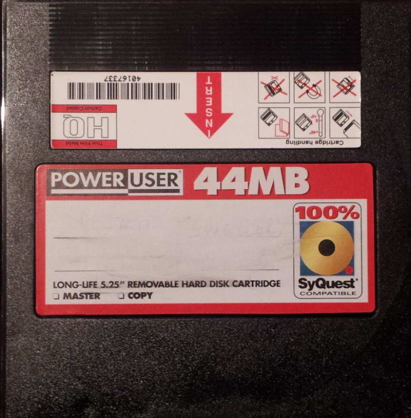 Power User 44MB Syquest Hard Disk Removable Cartridge.