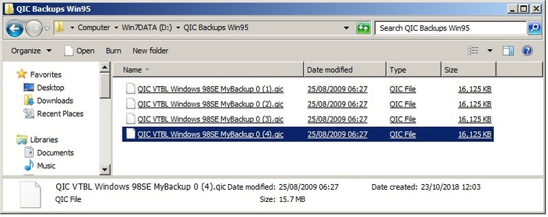 A screenshot of several qic files ready for Data recovery. The QIC files were from a Windows 95 or Windows 98 computer and needed to be emailed or downloaded and saved to CD or USB drive.