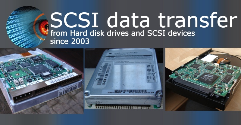 a set of 3 scsi disks ready for transferring files to a USB drive, CD or data dvd. One drive is a 50 pin scsi, the next is a 40pin scsi disk as found in Apple Mac powerbooks and laptops, and the last is a SCA 80 pin connector which includes power and data and used Ultra 160 system. There is also a 68 pin scsi connector not shown here.