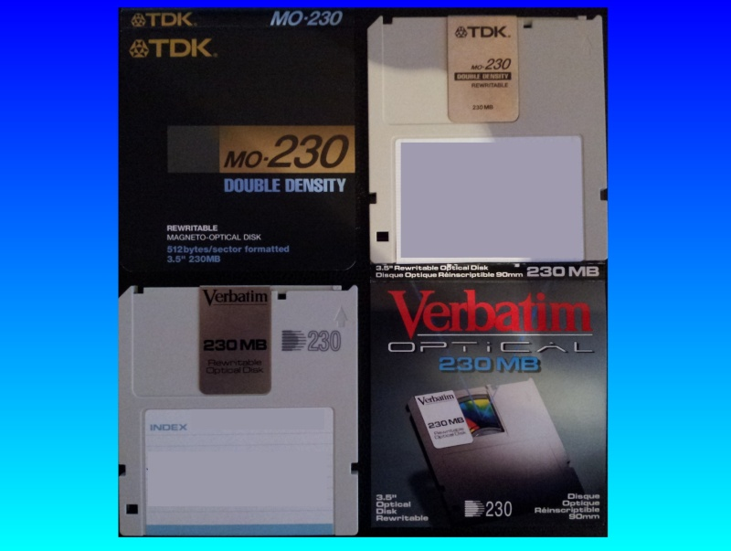A TDK 230MB MO disk and a Verbatim 230mb disk are shown with the case inlay cards. These Magneto Optical disks measure 3.5inches and are commonly used on consumer products from the late 1990s to 2000s.