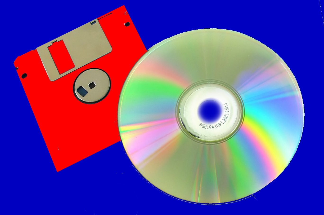 A red Floppy disk and a CD.