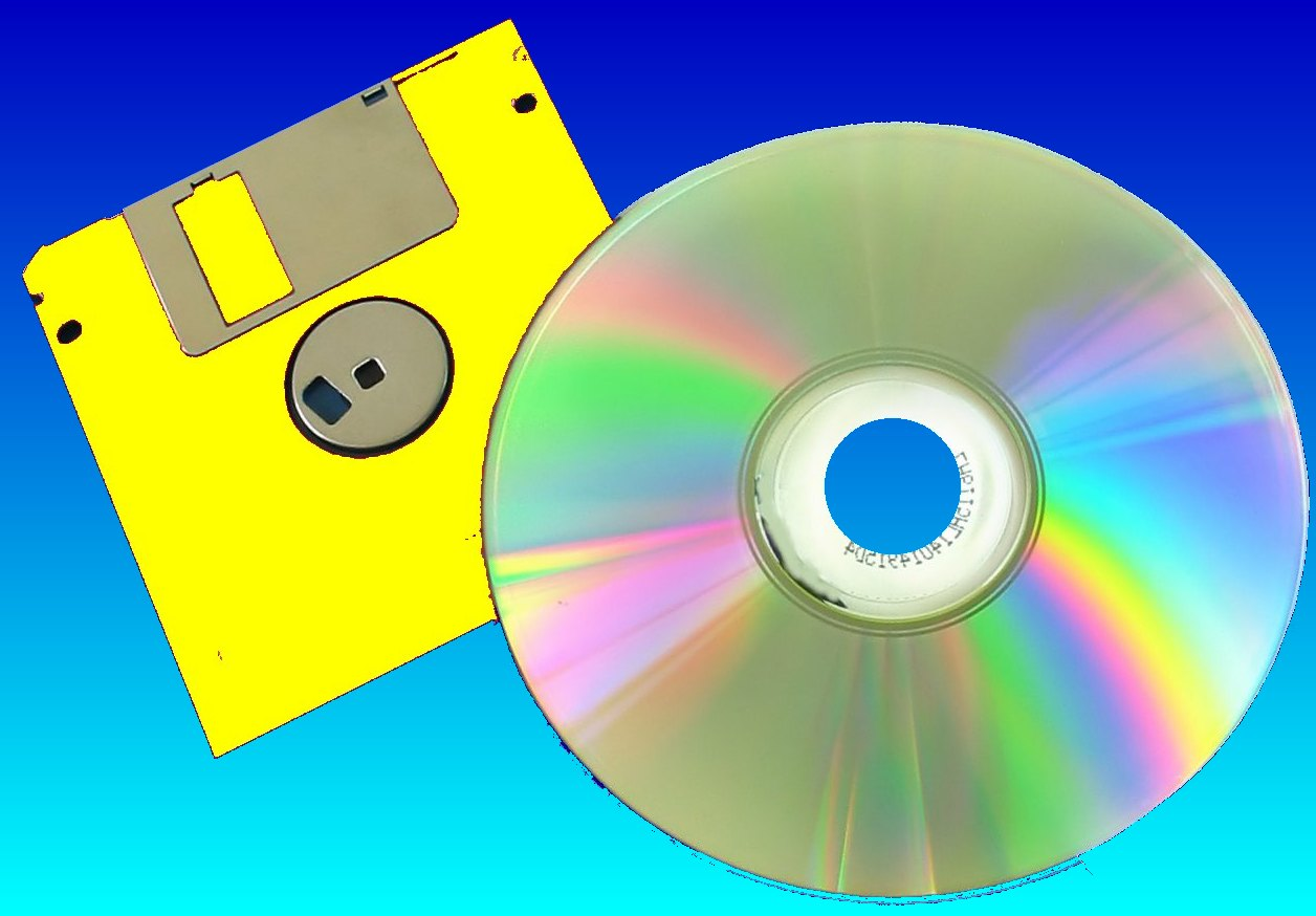 A 3.5 inch floppy disk together with a CD. Files will be transferred off the floppy to the CD.