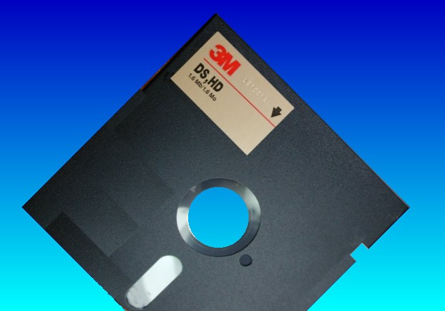 An old flopy disk used in a Cromenco operating under CDOS.