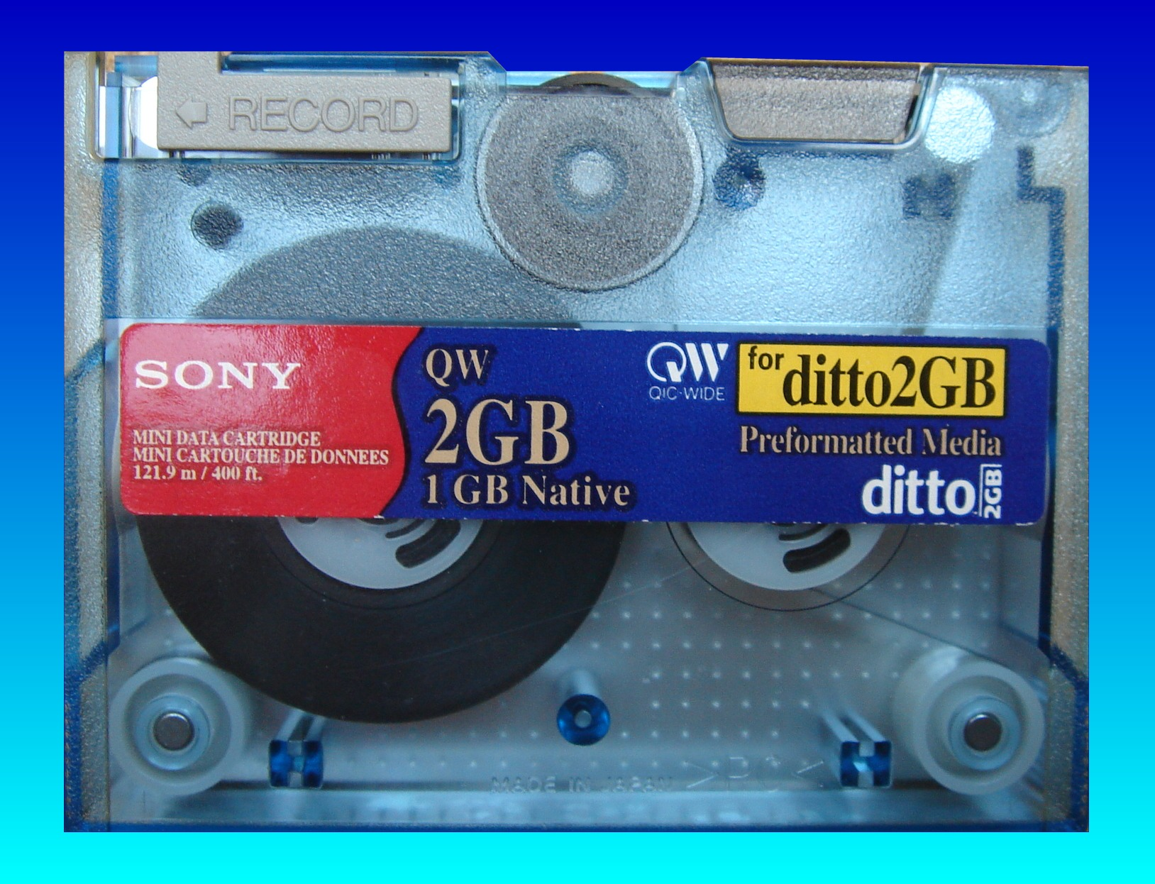 A 2GB ditto cartridge made by Sony that was sent in for files to be extracted to DVD and USB drives.
