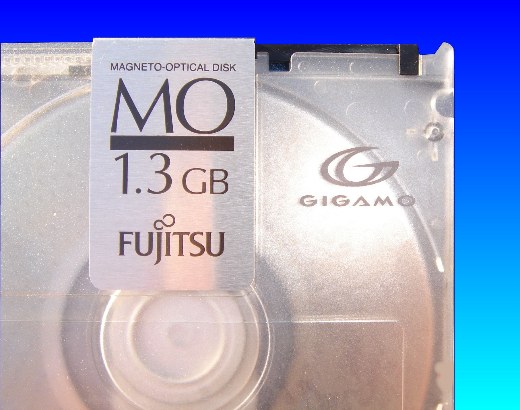 A close up of Gigamo disk by Fujitsu. This 1.3gb disk needed the stroed files transferring to CD.