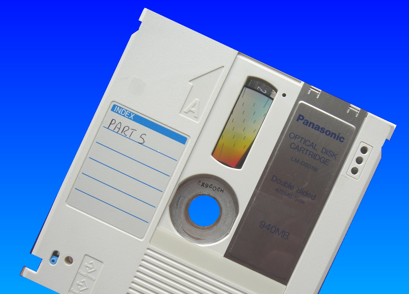 A Panasonic LM-xxxx series Optical disk ready for file transfer.