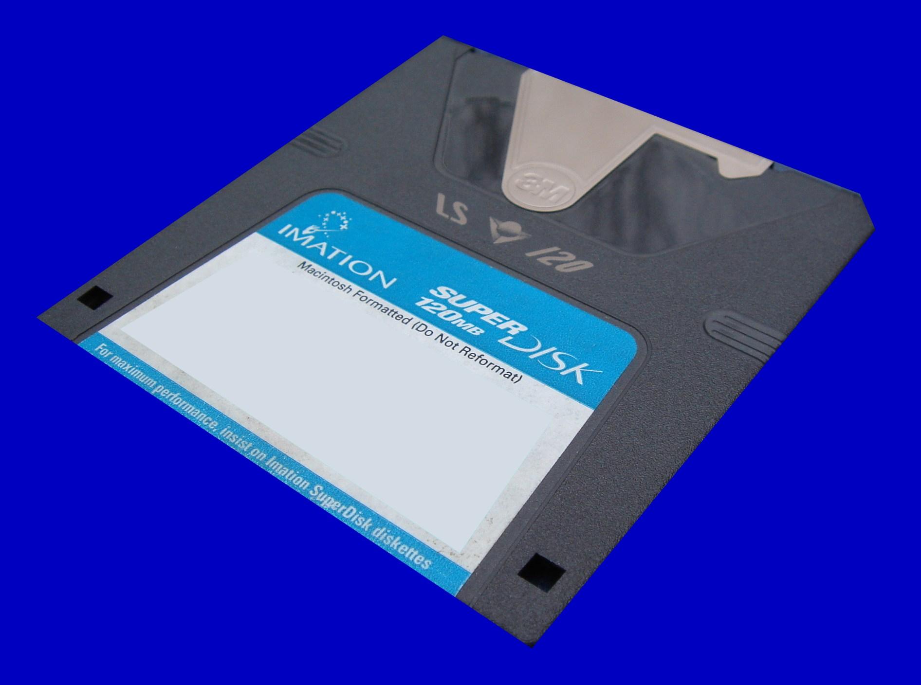 A SuperDisk ready for file transfer.