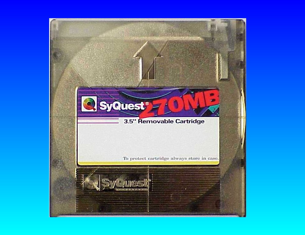 A Syquest 270mb disk. They also made the 105MB disk cartridge. This one was sent to us for transfer to CD.