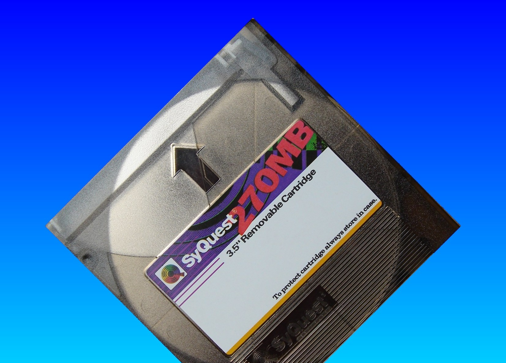A Syquest 270mb removable cartridge that was sent for conversion from Apple Mac to Windows Computer.