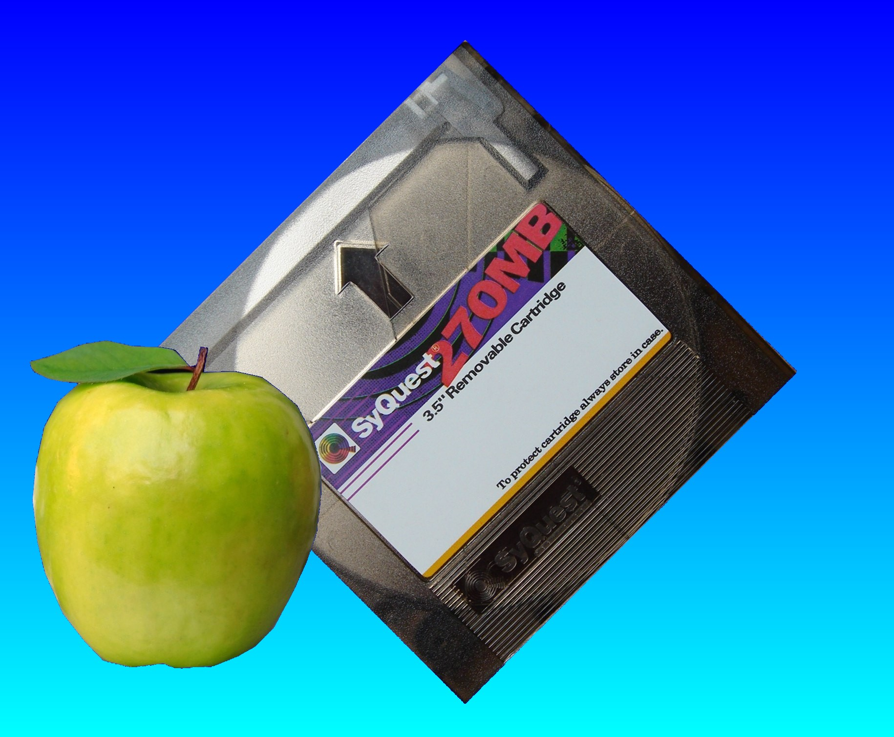 A Syquest disk that has been used in an Apple Mac. This particular disk is 230mb as used in the EZFlyer drives.