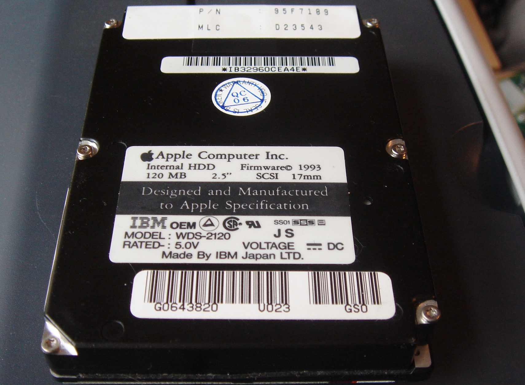 A 120mb WDS-2120 IBM/Apple Hard drive shown with the label facing upwards taken out of a Mac PowerBook 145B. This 2.5