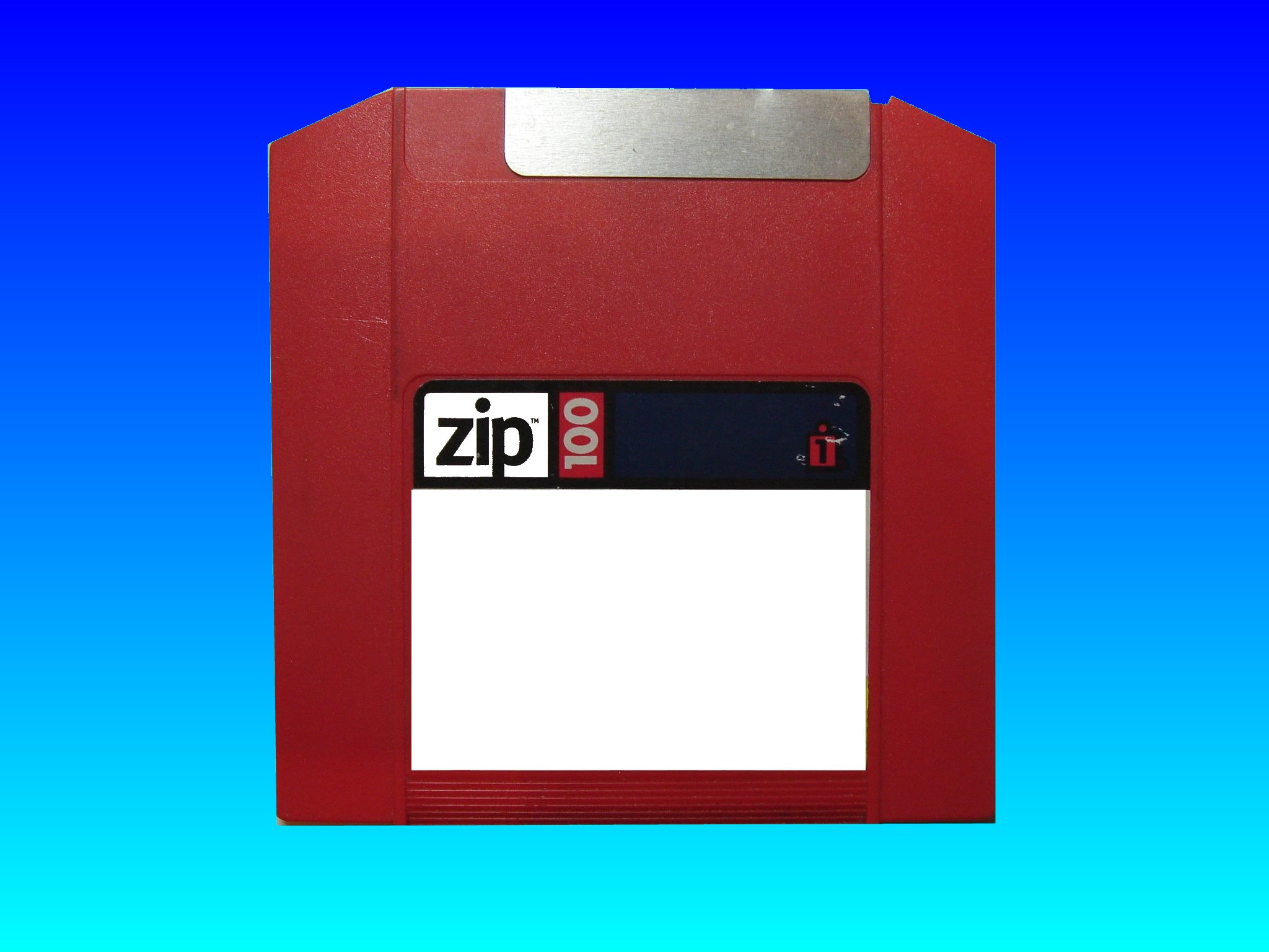 A red ZIP 100mb disk