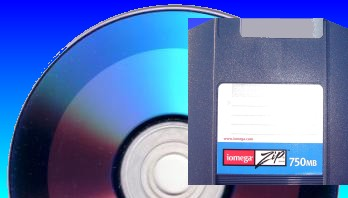 A CD and Zip Drive shown together ready for transfer of files and data.