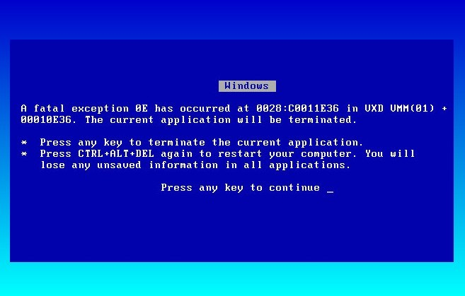 The BSOD blue screen of death is shown and occurs in Windows when it crashes and needs data recovering.