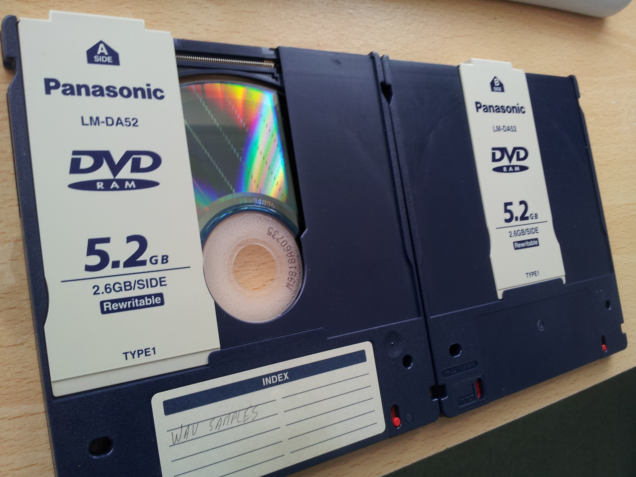 Panasonic DVD-RAM cartridge that requires conversion and files copied to a new hard drive