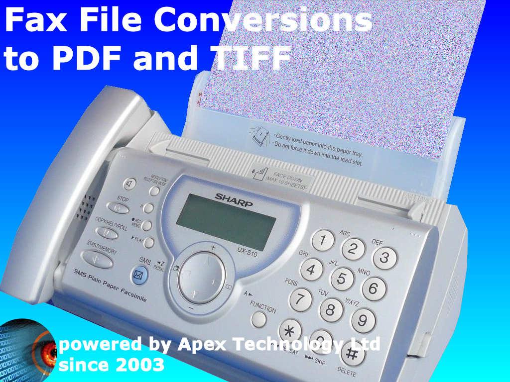 Fax conversion to PDF, TIFF JPEG .TIF and .JPG files Batch converter