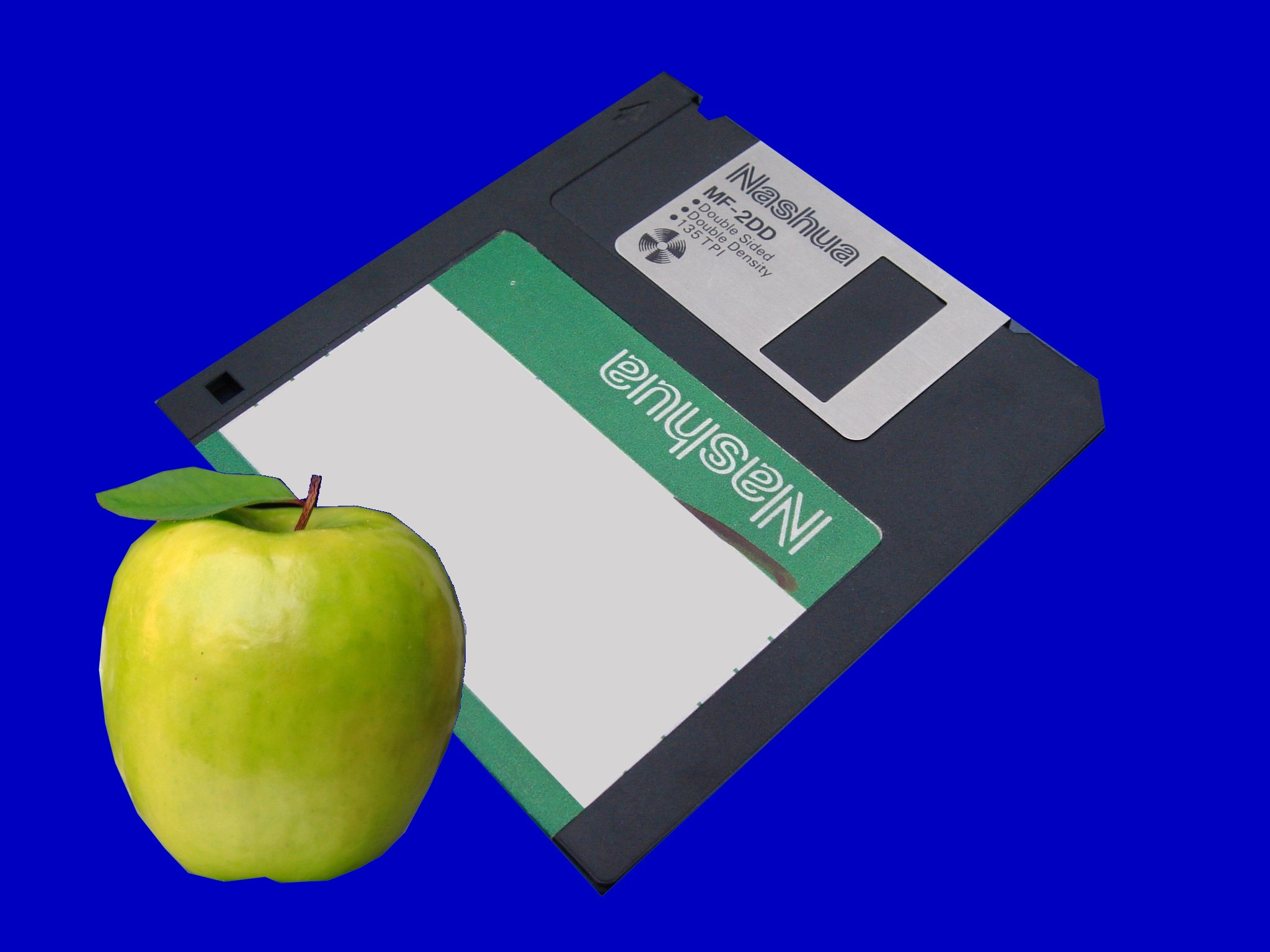 An MF-2DD double density floppy disk from Apple Mac computer.