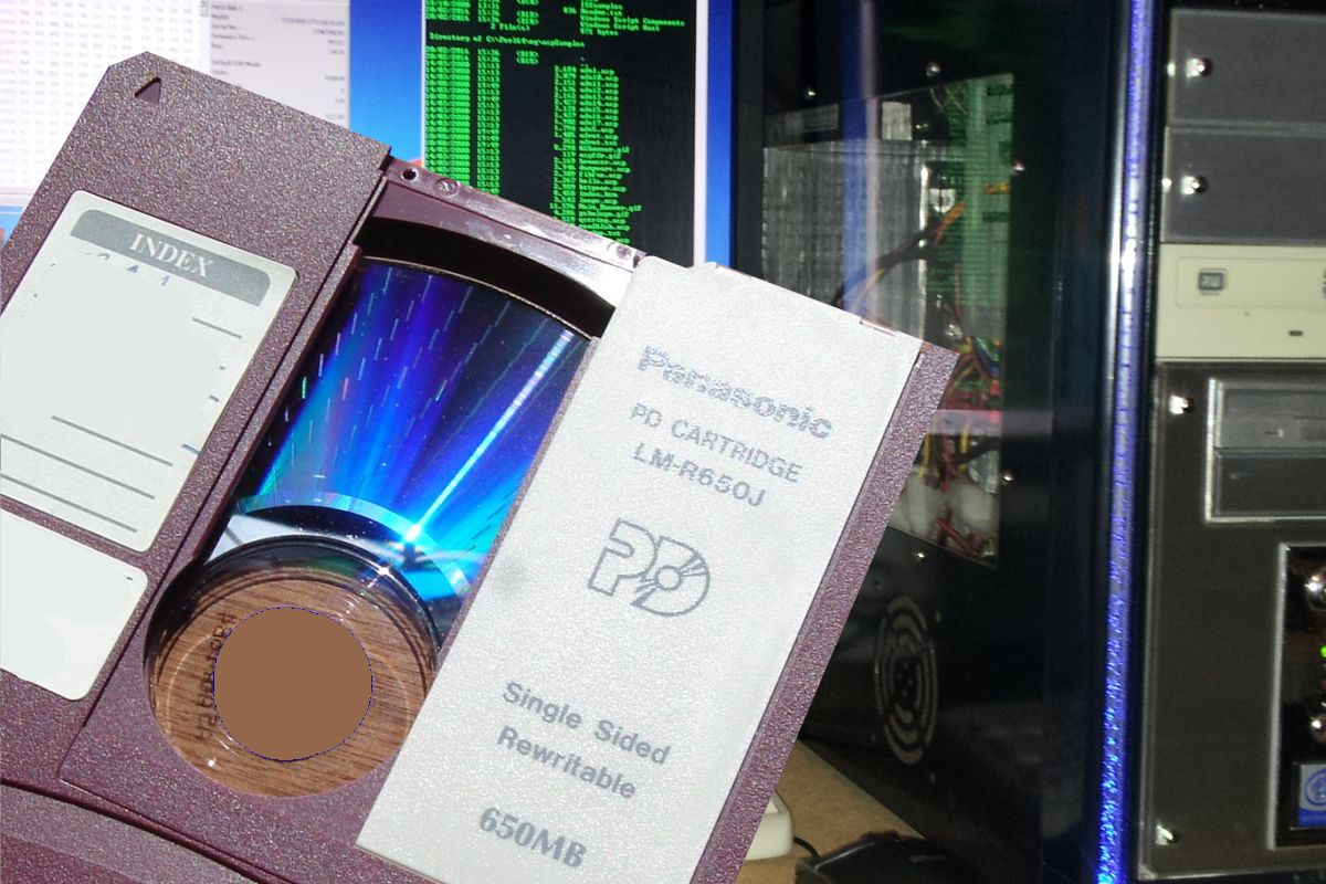 PD Cartridge for ready file transfer and optical disk conversion in our lab