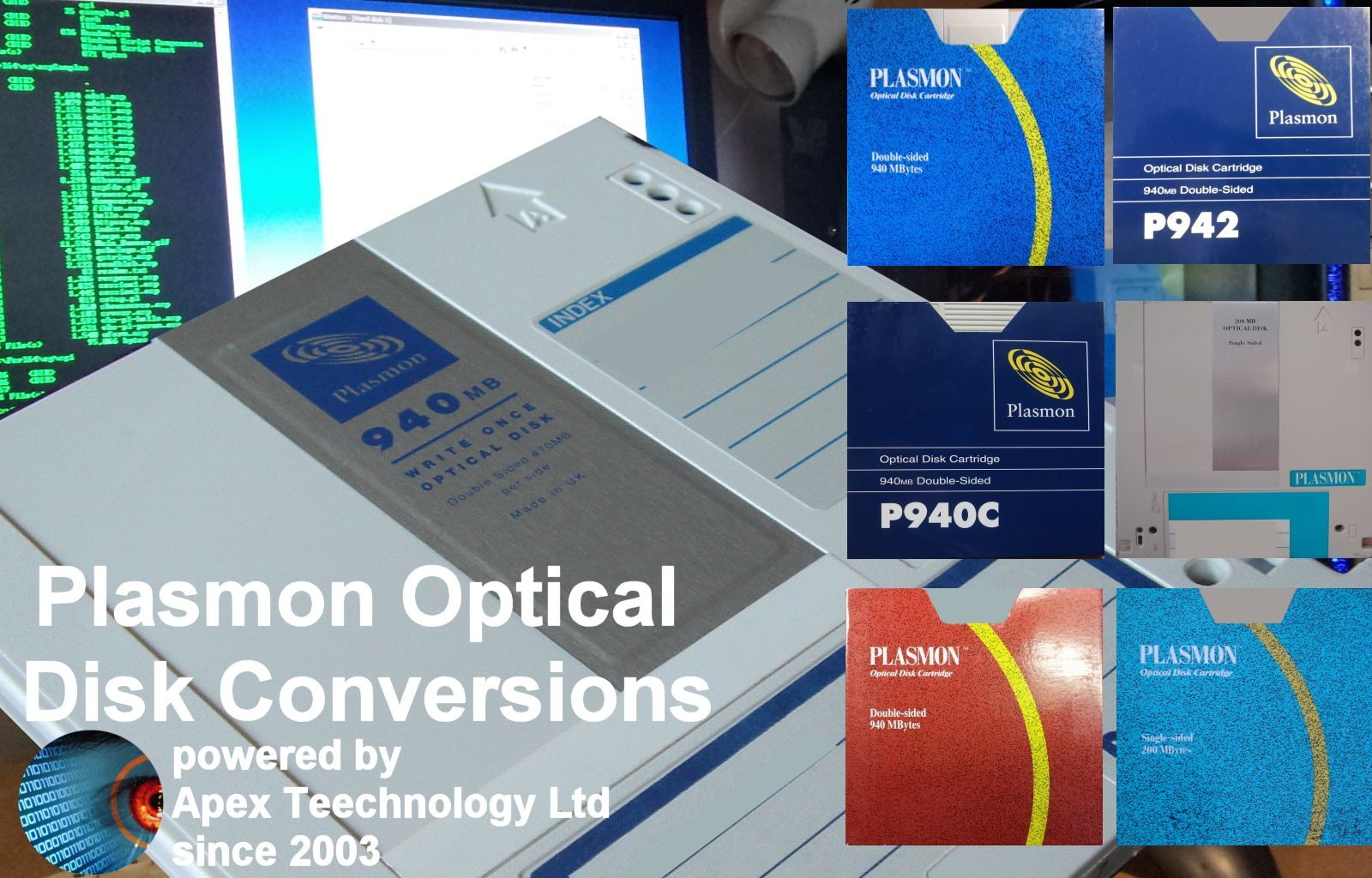 Plasmon Optical Disk Cartridges File Transfer, Data Recovery and Conversions