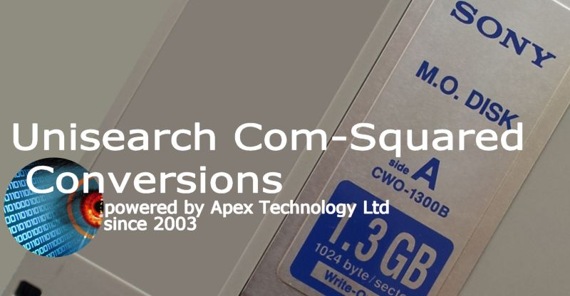 Unisearch Com-Squared Document Imaging and Management System MO Disk Conversions