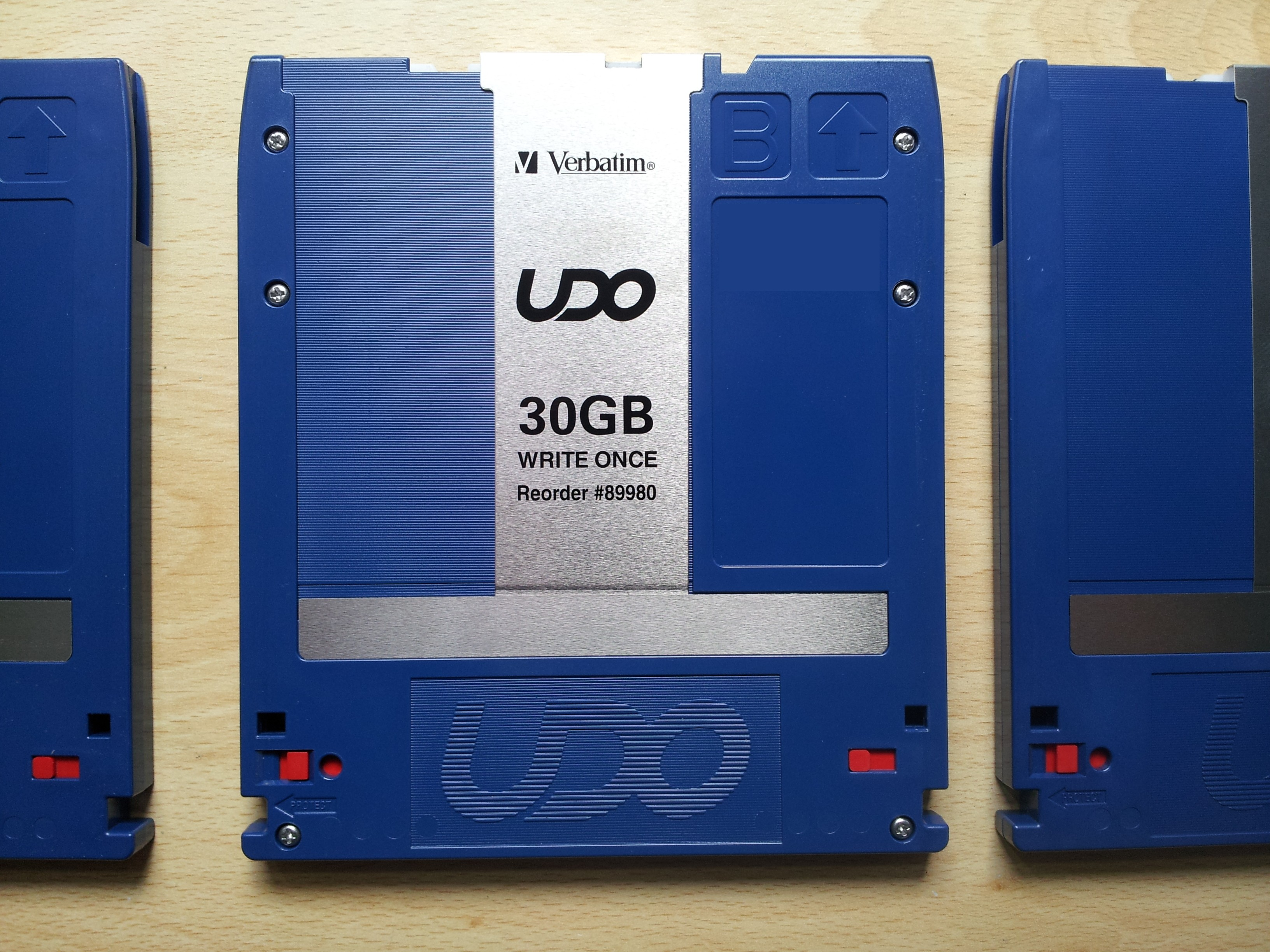 30GB UDO disk by Verbatim  - the disks look very like MO disks except they are predominantly blue and hold far more data - 30GB or 60GB of files.