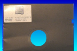 A 2S HD floppy disk ready for transfer. This one was from Germany and 5.25 inch in size.