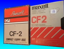 CF2 Amstrad Maxell Disks undergoing file transfer. Disks by Amsoft and Maxell are shown for the Amstrad PCW and CPC