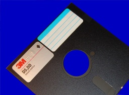 A DS-DD 5.25 inch floppy disk ready to have archive data recovered to CD or USB.