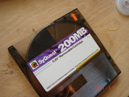 A Syquest 200mb cartridge disk ready for file transfer.